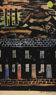 "Jack Jones ""Dark Terrace"" 1971 Collograph (16.5 x 10 cm) Mounted unframed"