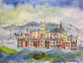 """Jack Jones """"Village (France)"""" 1986 watercolour & ink(24 x 31 cm) Mounted unframed"""