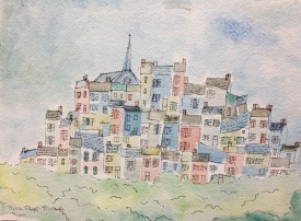 """French Village Picardy"" 1986 Watercolour & Ink (24 x 31 cm) Mounted unframed"