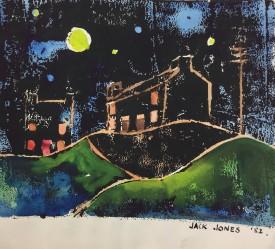 "Jack Jones ""Moonlight I""1982 Monoprint/Mixed Media (11.5 x 14 cm) Mounted unframed"