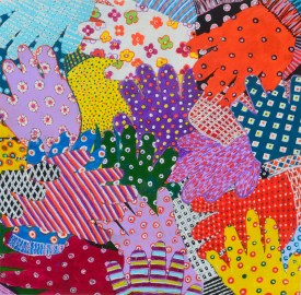 """Menyg Amryliw (multi Coloured Gloves)"" Acrylic on Canvas 17"" x 17"""
