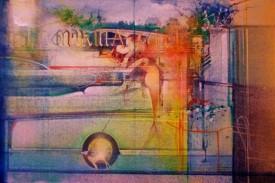 Marina Reflections.  The Kiss    Acrylic on Canvas   16 x 24 ins