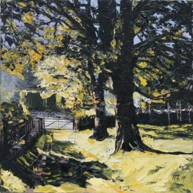 "Aled Prichard-Jones ""Oberon Woods Beddgelert""  (40x40cm) .oil on canvas"
