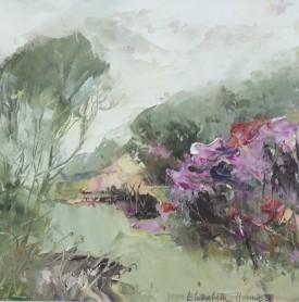 "Elizabeth Haines ""October Garden I"" ( 19 x 14 CM) Oil"