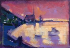 "Estuary, Penclawdd."", Acrylic. (12"" x 16.75"")"