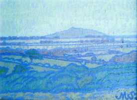 """Maurice Sheppard """"A Mysterious landscape Pembrokeshire"""" Oil on linen on board (19"""" x 27"""")"""