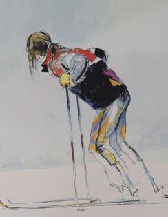 Skier resting