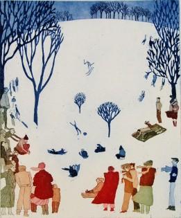 Brenda Hartill 'Snow Scape' (21 x 23 CM) Framed Limited edition etching aquatint 20/100