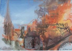 "Elizabeth Haines ""The Burning of Notre Dame"" ( 17 x 24 CM) Oil"