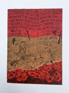 "Alan Figg ""The Folly of War"" Limited Edition print 3 colour Linocut (46 x 33 cm)"