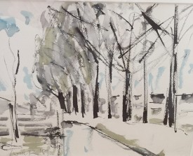 Tree Lined Boulevard   11x15 ins   Mixed Media