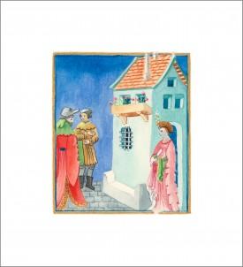 Tudor Scene I    Mixed Media     12.5 x 10.5 cm      Handmade Italian frame.  Gold-leafed.  non-reflective glass