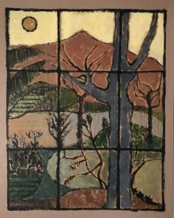 Twilight Garden,  Ojai    Charcoal & Acrylic     34 x 27 cm