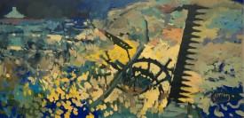 """Meirion Jones """"Ty gwyn ar ben y bryn"""", Acrylic, (30 x 60 CM)"""
