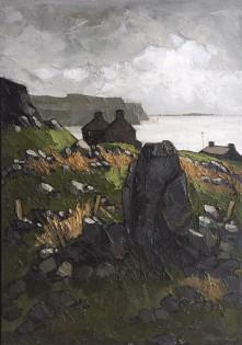 """Wilf Roberts 'Penrhyn Glas A Morfa Nefyn'  2007 Oil on board (33"""" x 23"""")"""