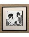 Japanese Series VII     Pen & Ink    28 x 32 cm    (framed size 41.5 x 44 cm) Black frame    Off-white mount