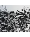 Seascape III     Pen & Ink     23 x 25.5 cm  (framed size 35.5 x 37 cm) Black frame.   Off-white mount
