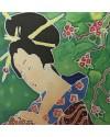 Japanese Lady    Silk Painting    23 x 25.5 cm    (framed size 35.5 x 37 cm) Black frame.   Off-white mount