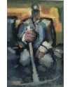 Miner with Pick     Acrylic     46 x 32  cm    (71 x 55.5 cm framed)