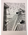 "Alan Figg ""The Bridge that Slipped Away"" Limited Edition print Linocut (38 x 29.5cm)"